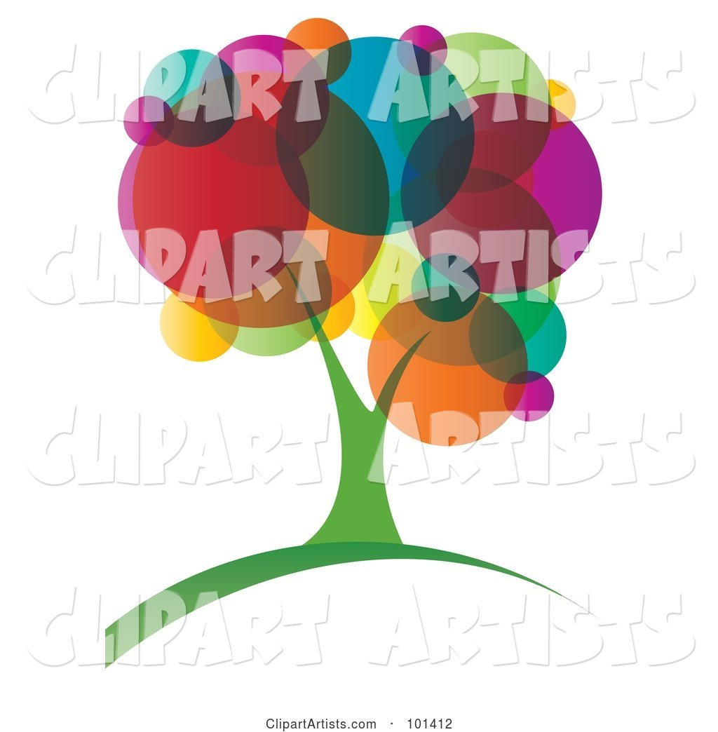 Vibrant Tree with Colorful Circle Foliage