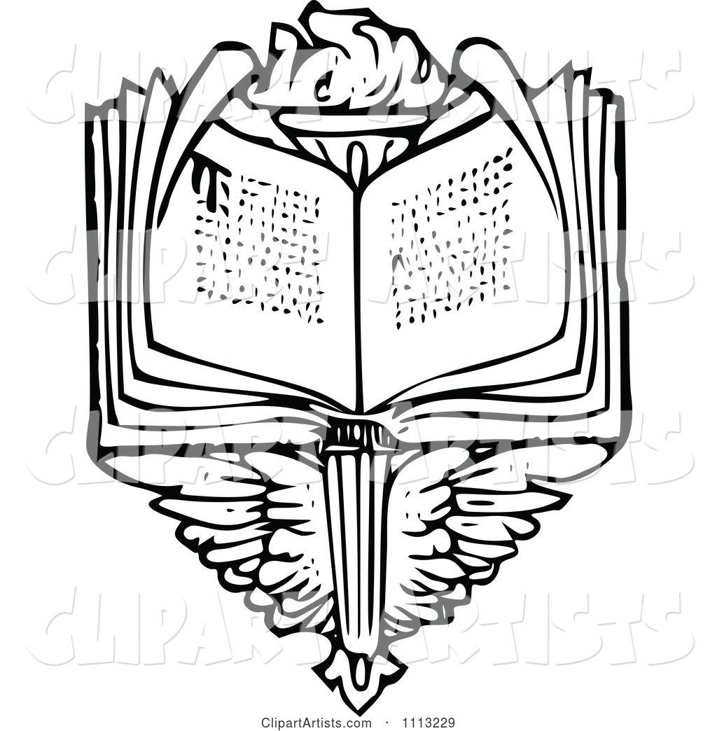 vintage black and white open book over wings and a torch