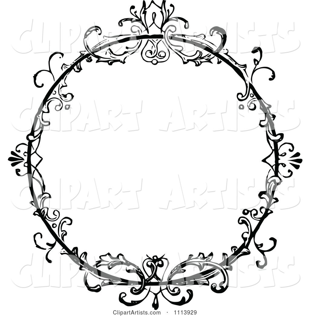 vintage black frame. Vintage Black And White Ornate Floral Round Frame V