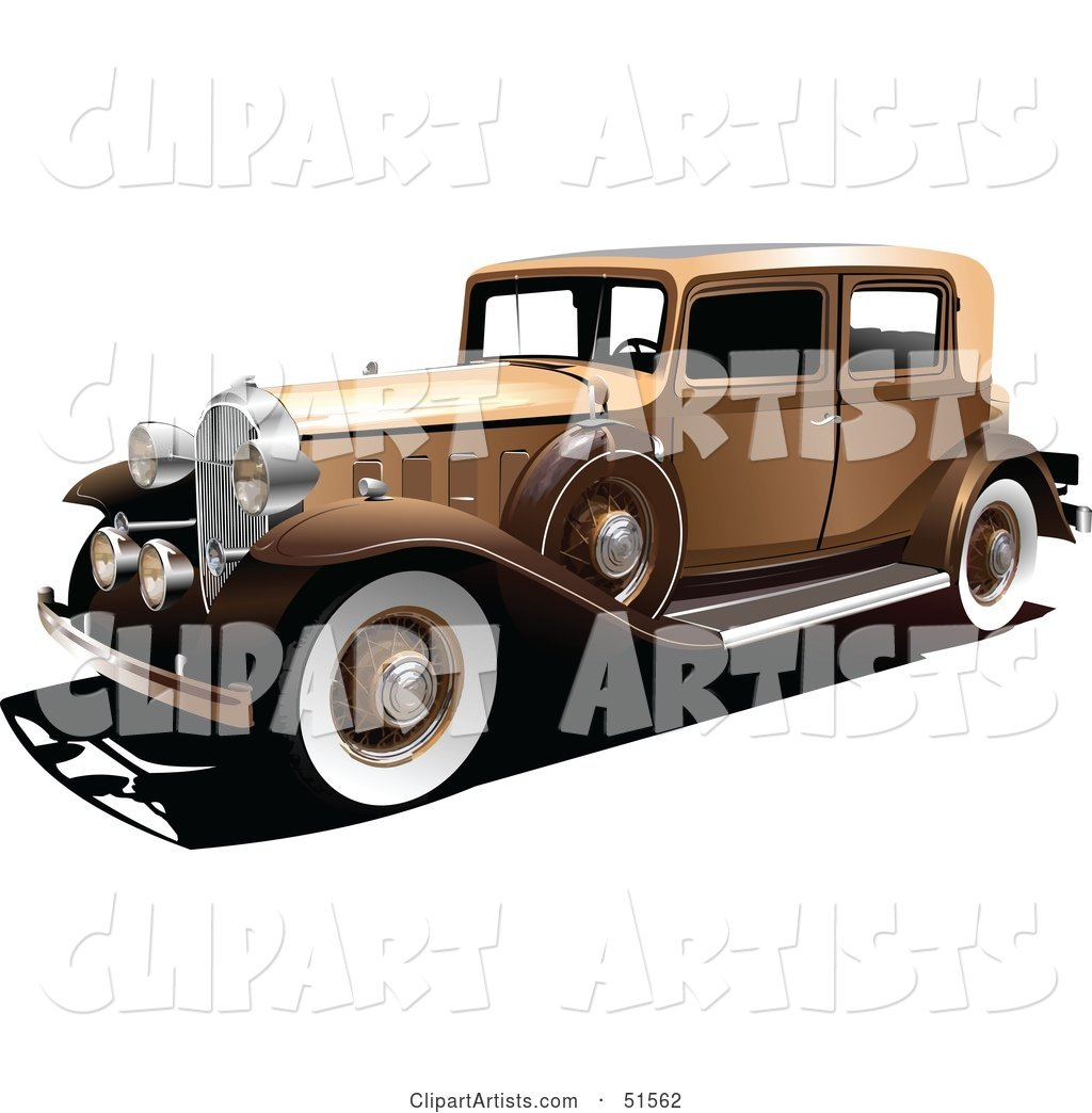 Vintage Gold Car with White Wall Tires