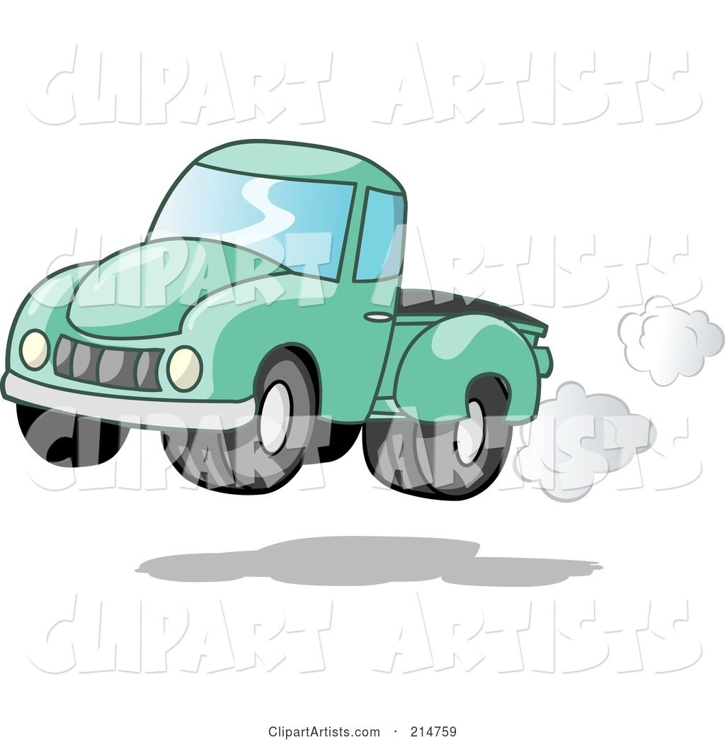 Vintage Green Pickup Truck with Exhaust Clouds