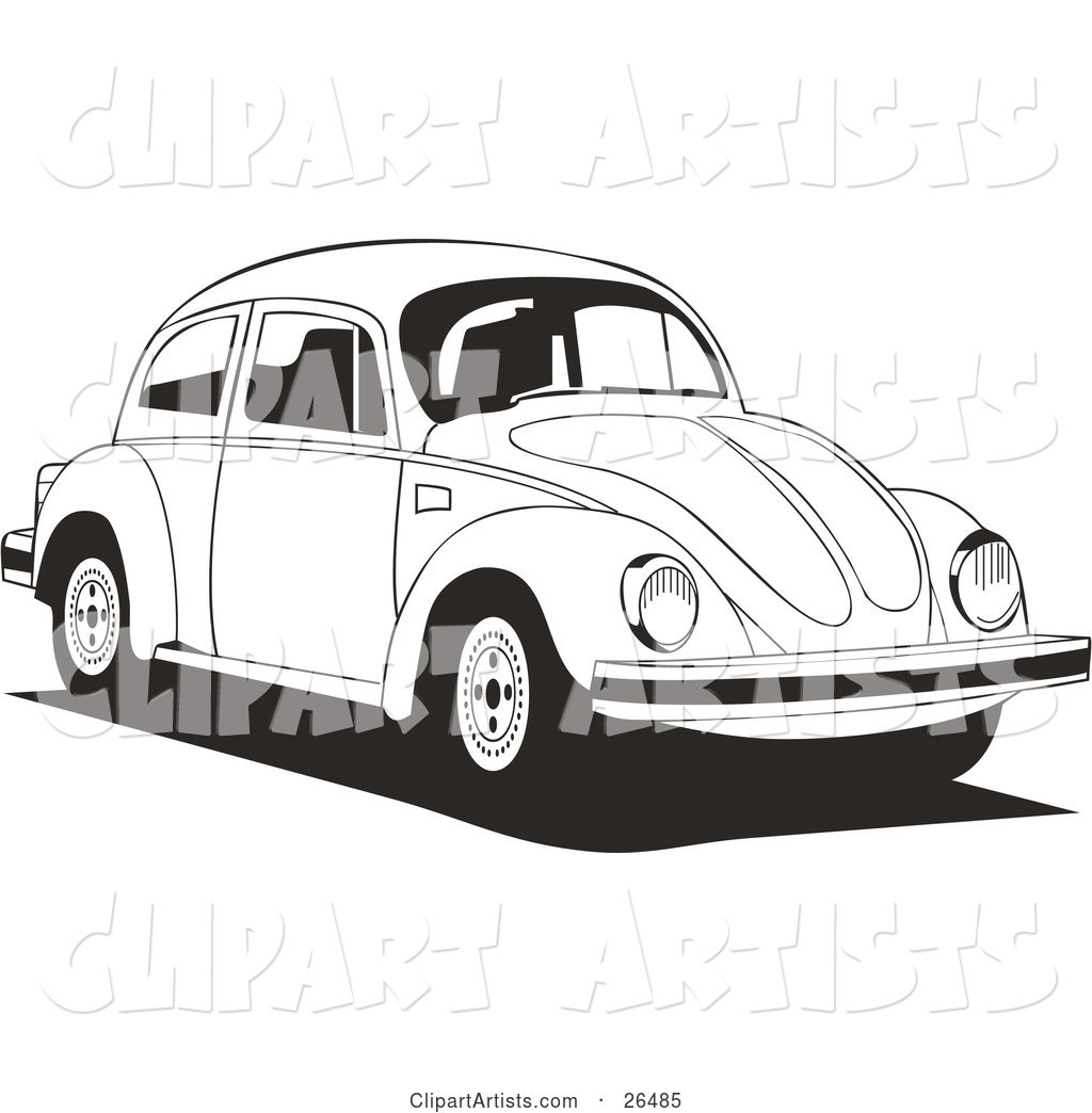 Volkswagen Bug Car Driving to the Right in Black and White
