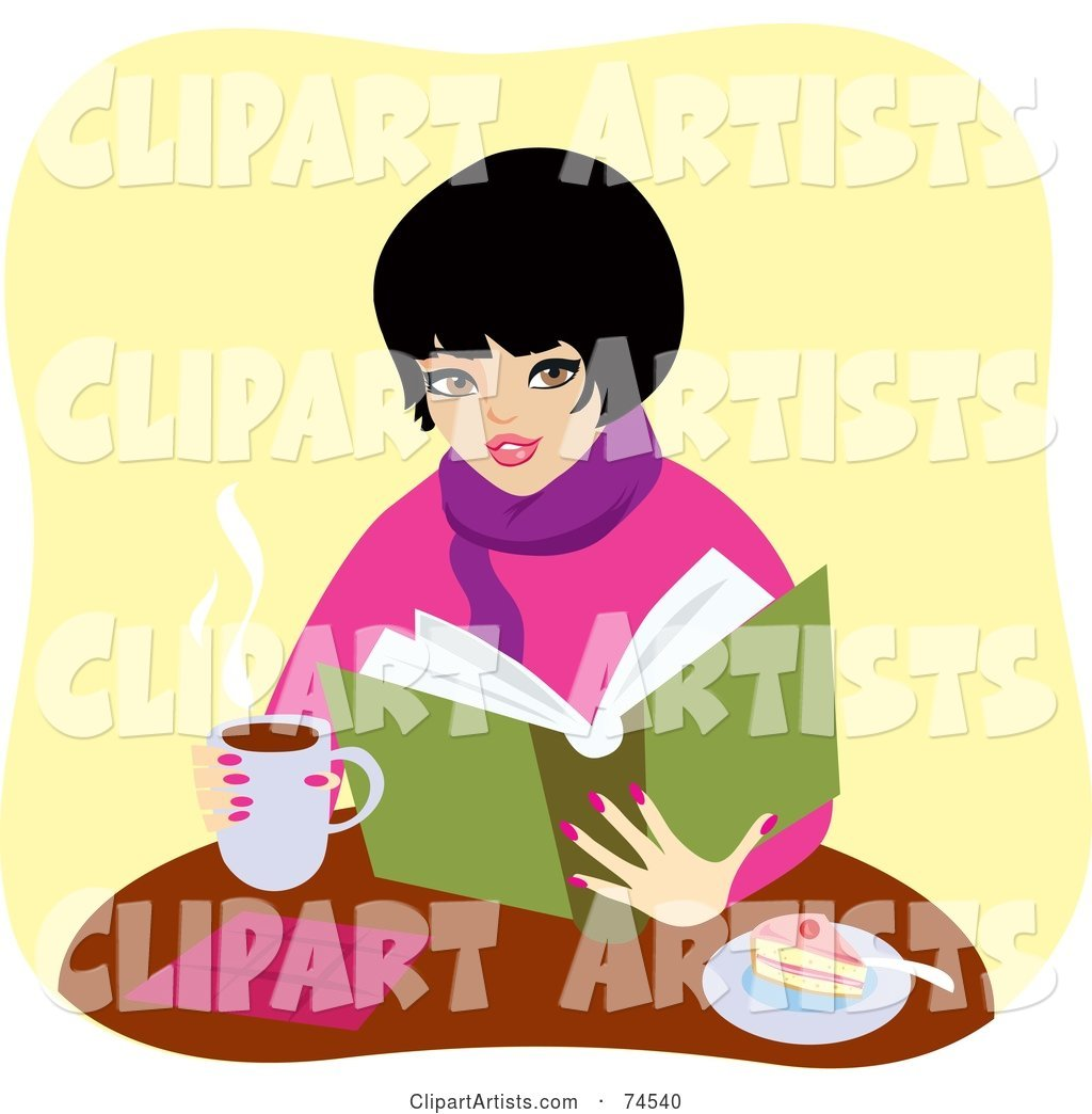 Warm Woman Drinking Coffee and Eating Cake While Reading a Book