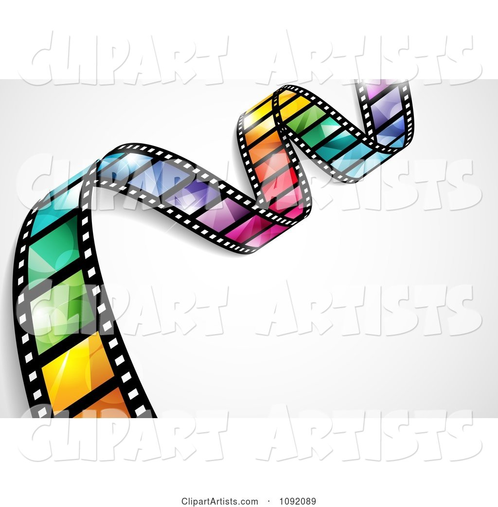 Waving Colorful Flare Film Strip with Shading and Gradients