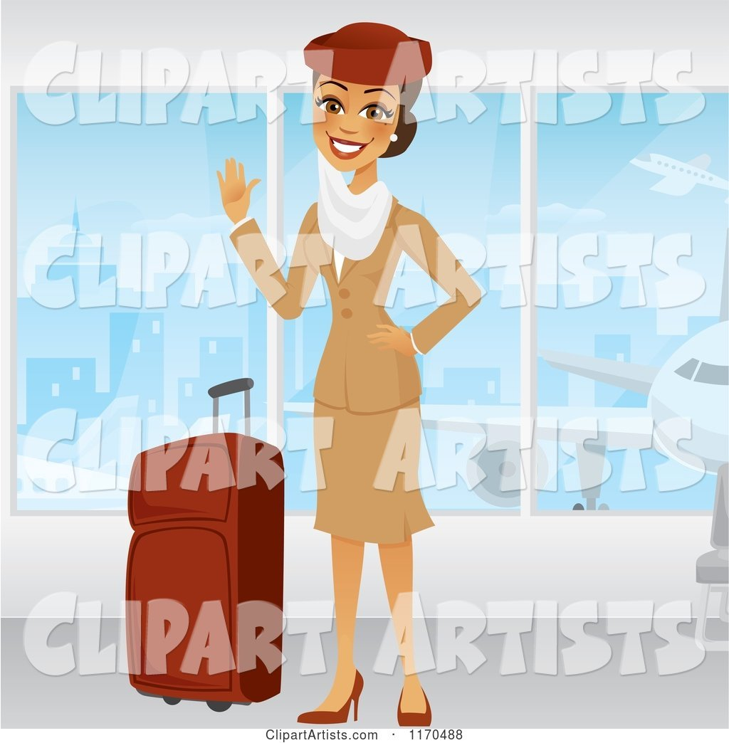 Waving Emirates Airline Stewardess in a Brown Uniform, Standing by Windows with Her Luggage