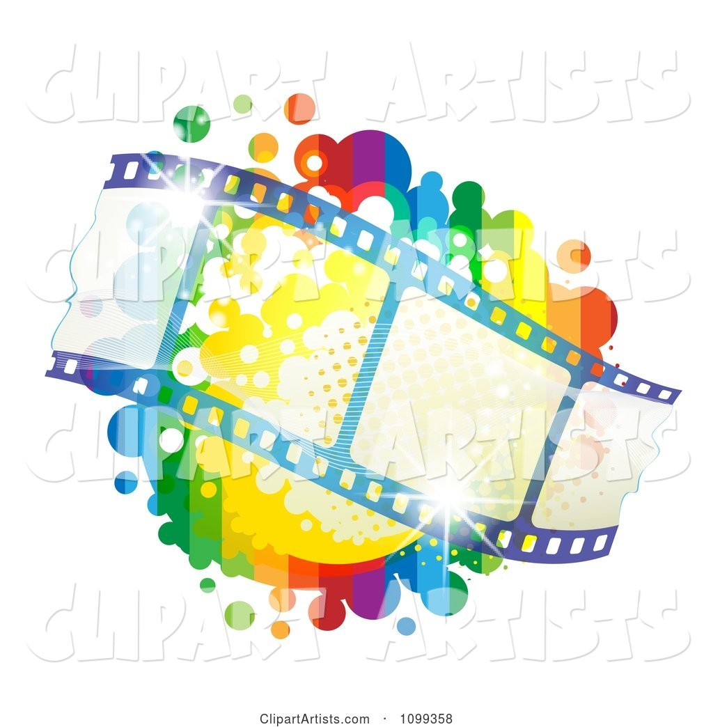 Waving Film Strip over a Rainbow Splatter