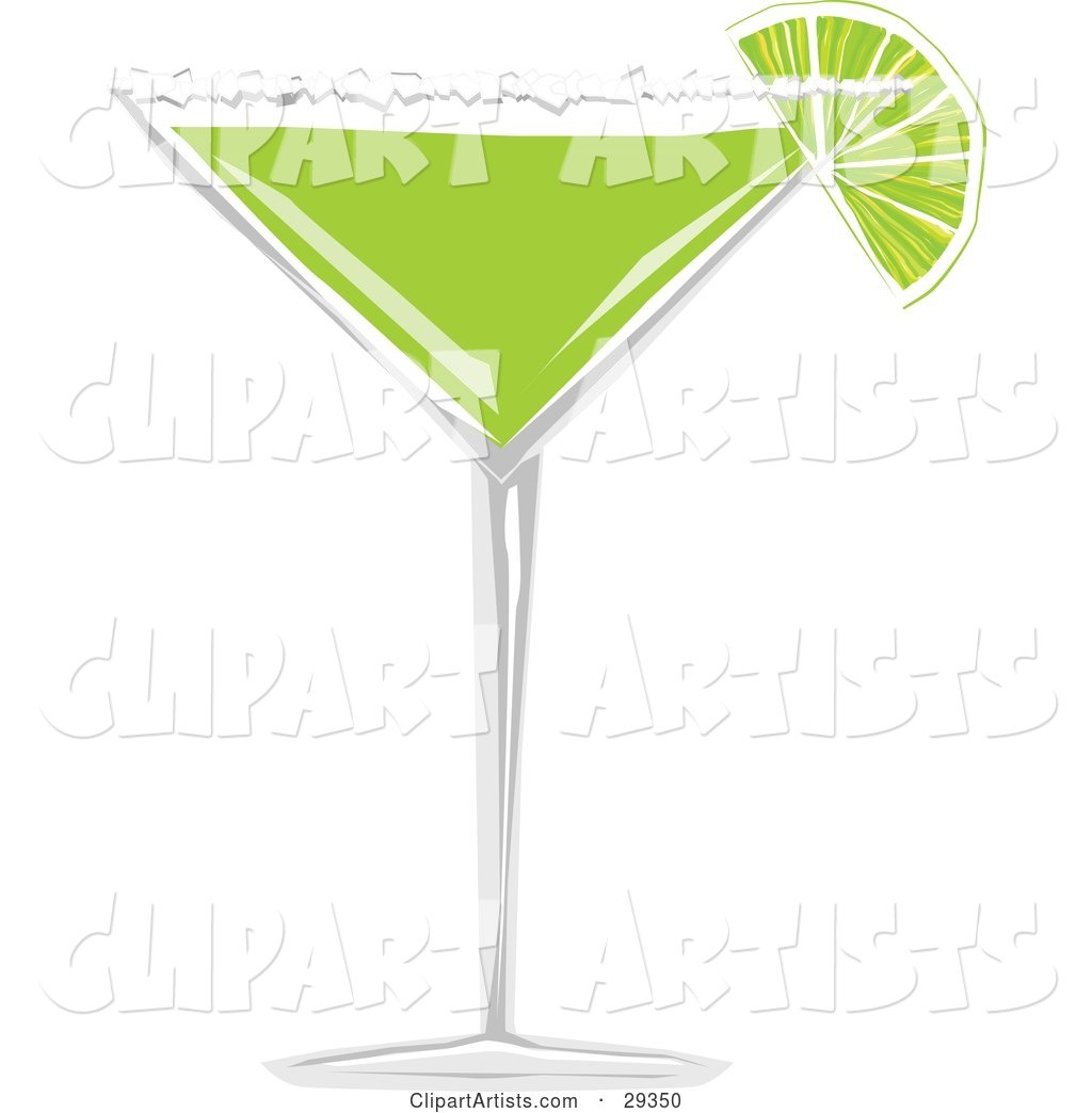 Wedge of Lime with Salt on the Rim of a Margarita Glass Filled with Green Alcohol