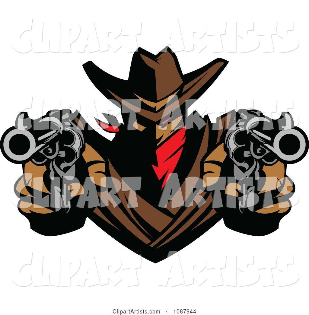 Western Cowboy Outlaw Pointing Two Pistols