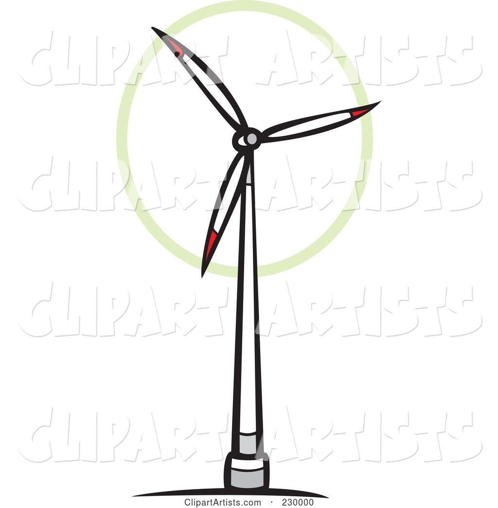 White and Red Wind Turbine Spinning