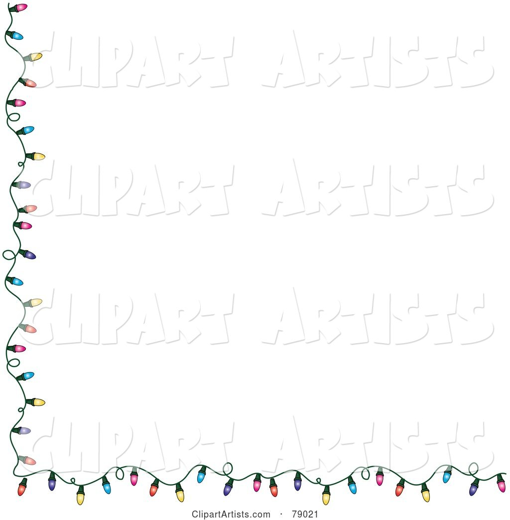 White Background with a Left and Bottom Border of Colorful Christmas Lights