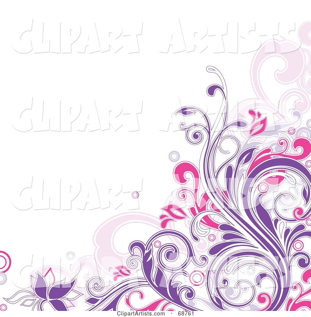 White Background with a Purple and Pink Floral Vine Corner