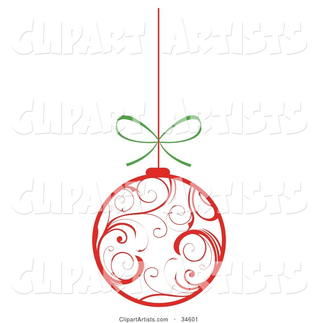 White Christmas Ornament with Red Swirl Patterns, Suspended from a String with a Bow