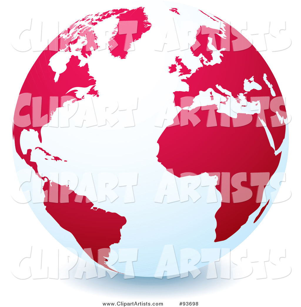 White Globe with Red or Pink Continents, Centered on the Atlantic