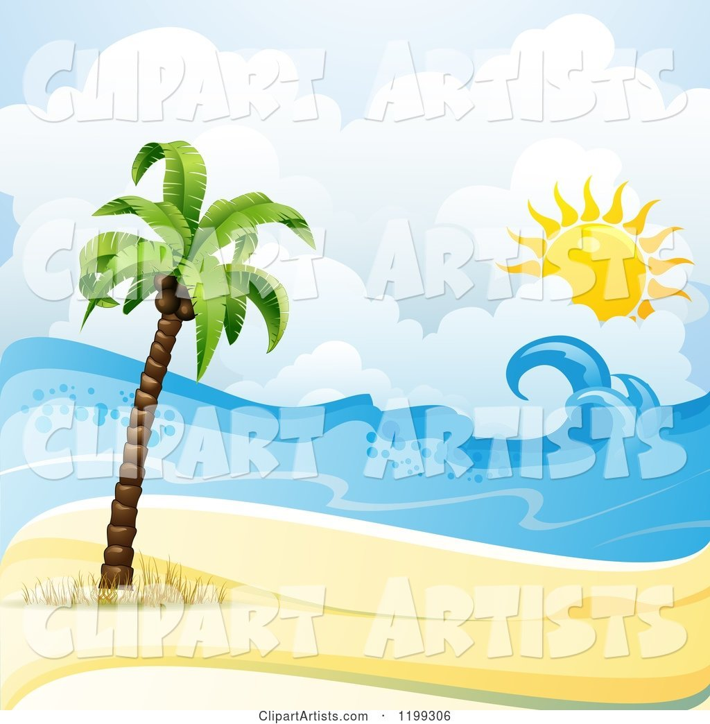 White Sand Tropical Beach with a Palm Tree and Sun over the Surf