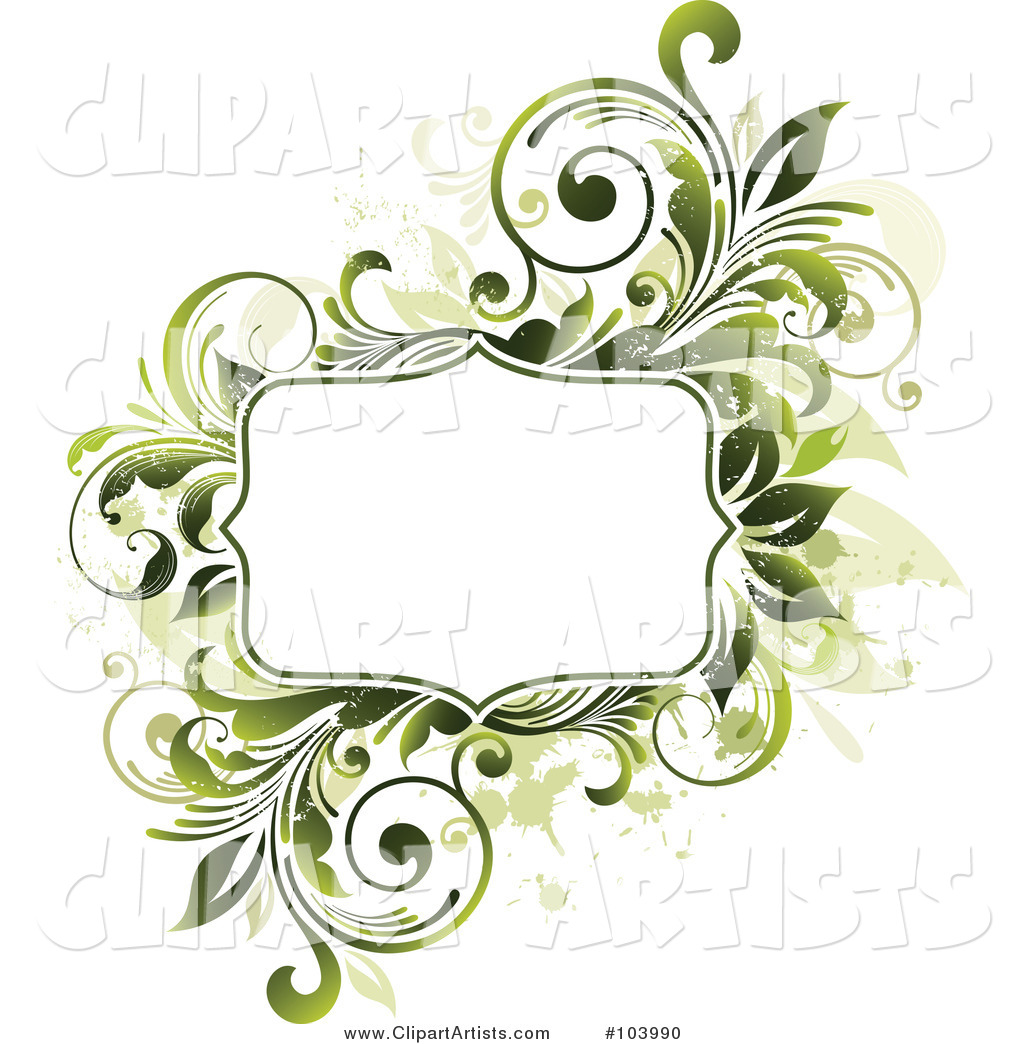 White Space Bordered by Green Vines and Beige Splatters