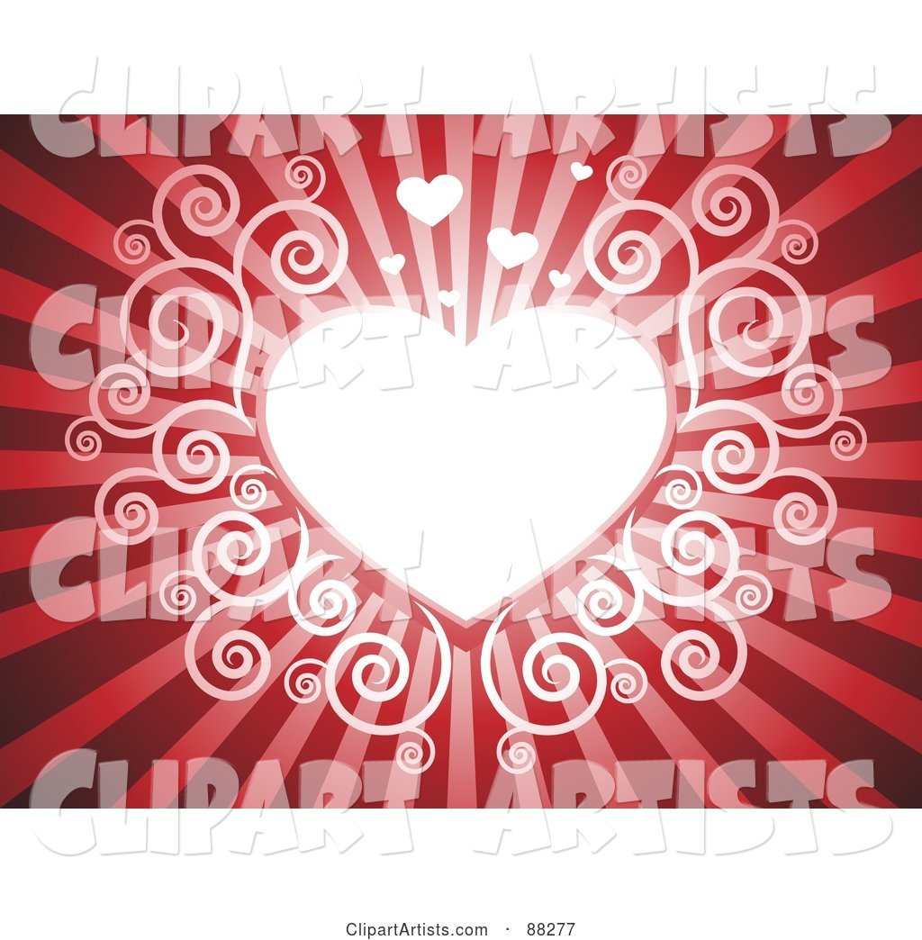 White Swirl Heart on a Red Shining Background