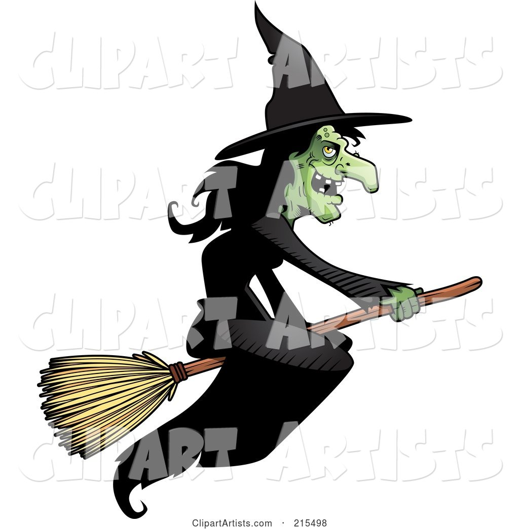 Wicked Witch in a Black Dress, Flying on a Broom Stick