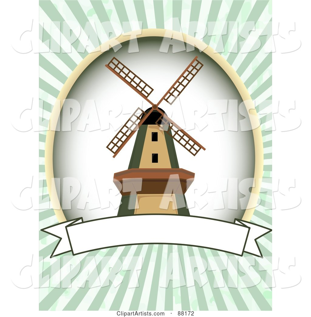 Windmill over a Blank Banner with Green Retro Bursts