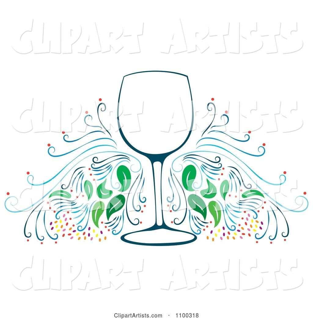 Wine Glass Frame with Flourishes