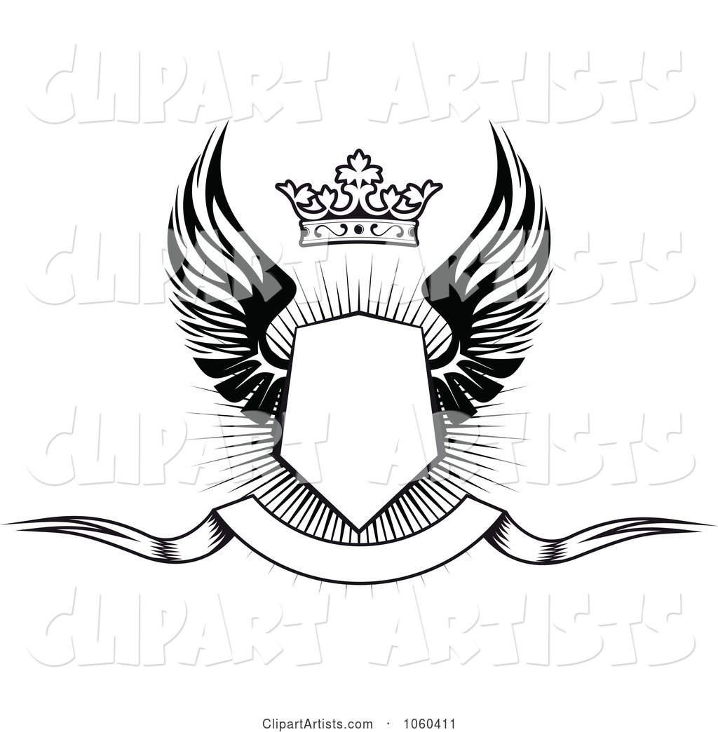 Winged Shield with a Crown and Blank Banner - 1
