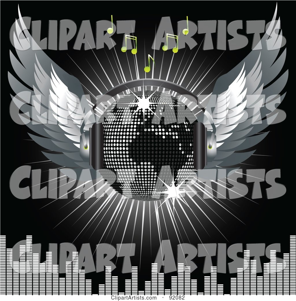 Winged Silver Map Disco Ball with Headphones with Music Notes, a Burst and a Equalizer Bars, on Black