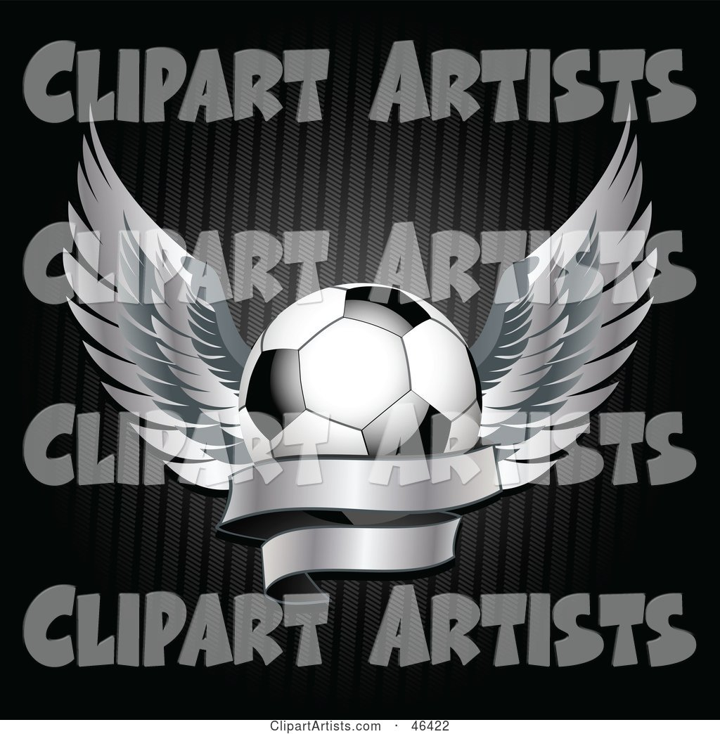 Winged Soccer Ball with a Blank Banner
