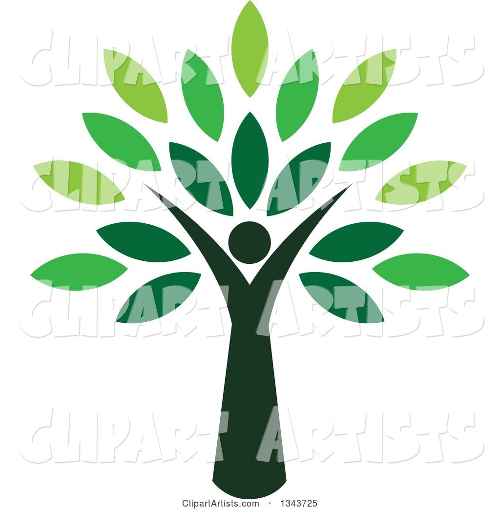 Woman Forming the Trunk of a Tree with Green Leaves Clipart by ...