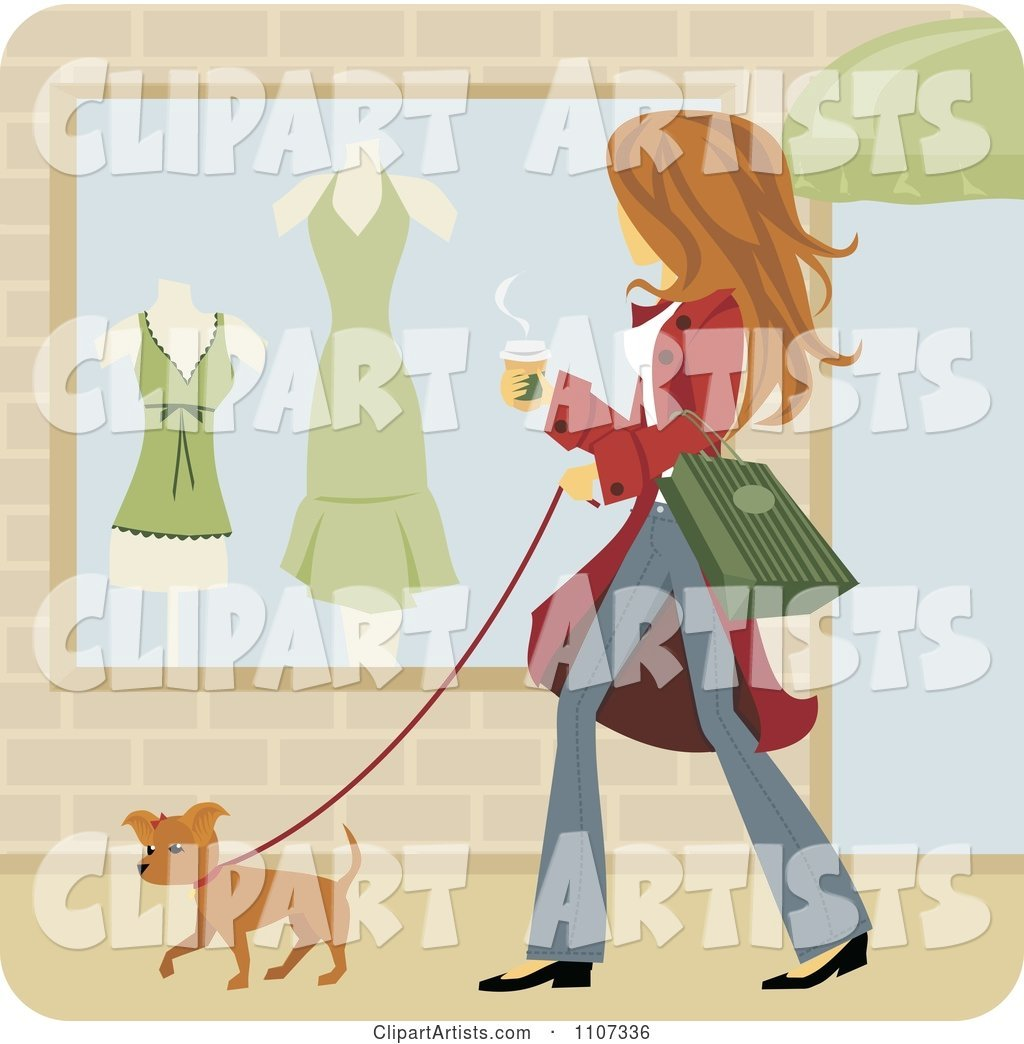 Woman Walking Her Pooch and Window Shopping with Coffee in Hand