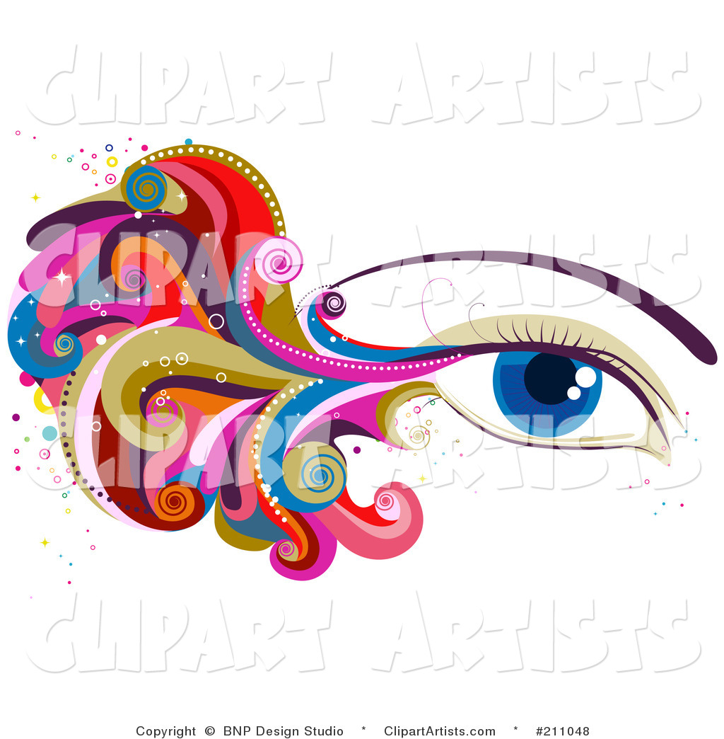 Woman's Blue Eye with Colorful Waves and Swirls