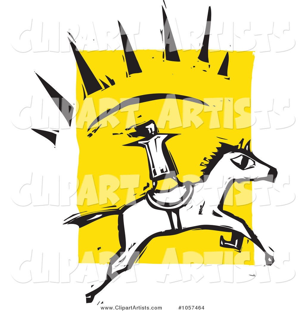 Woodcut Styled Person Standing on a Running Horse