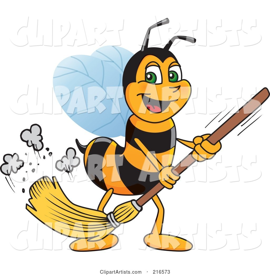 Worker Bee Character Mascot Sweeping