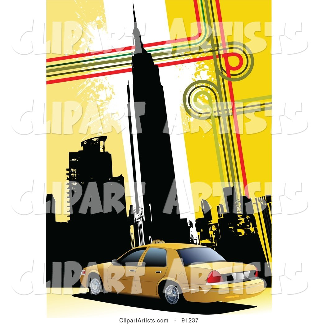 Yellow Background of New York Skyscrapers and a Taxi Cab