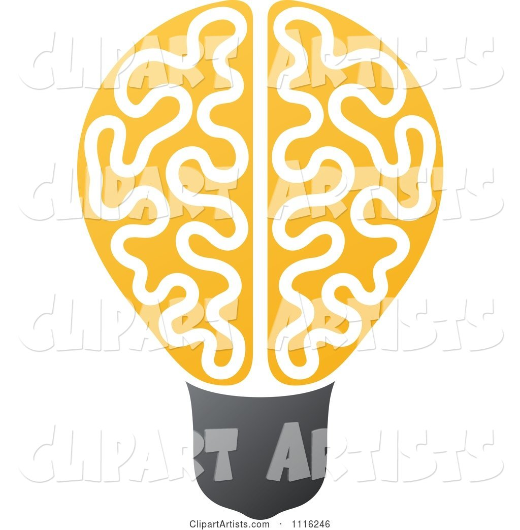 Yellow Brain Light Bulb