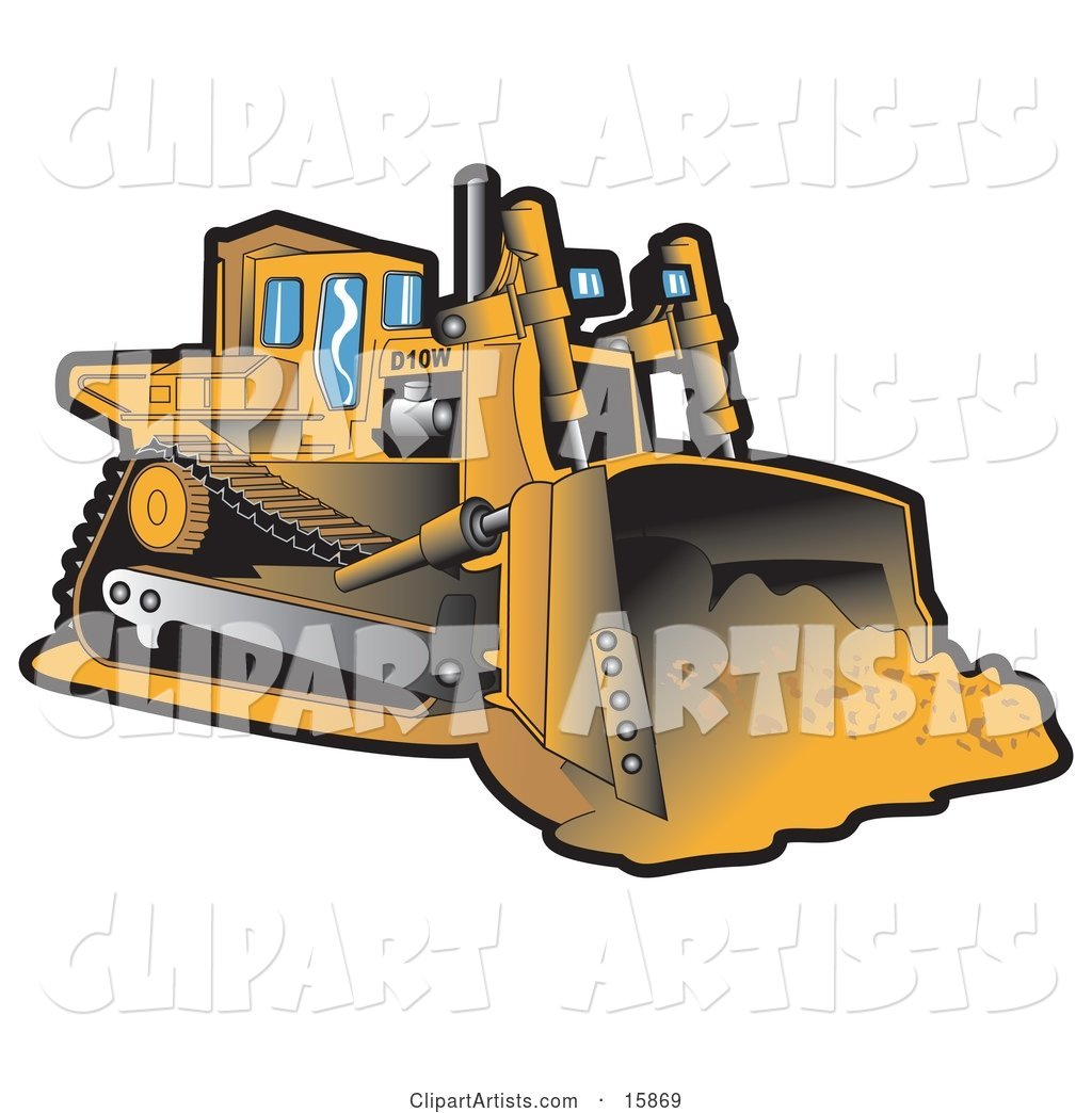 Yellow Bulldozer Moving Dirt at a Construction Site