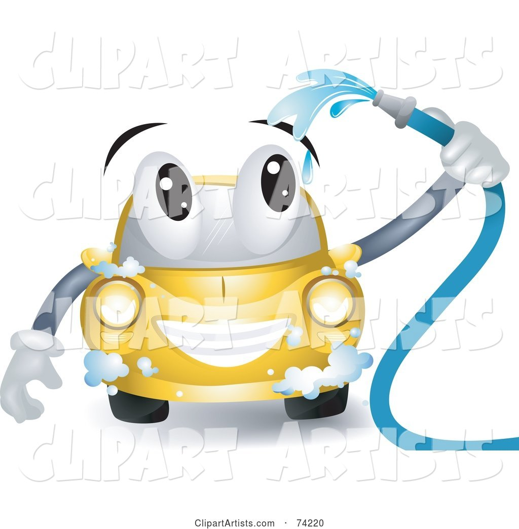Yellow Car Character Washing Itself