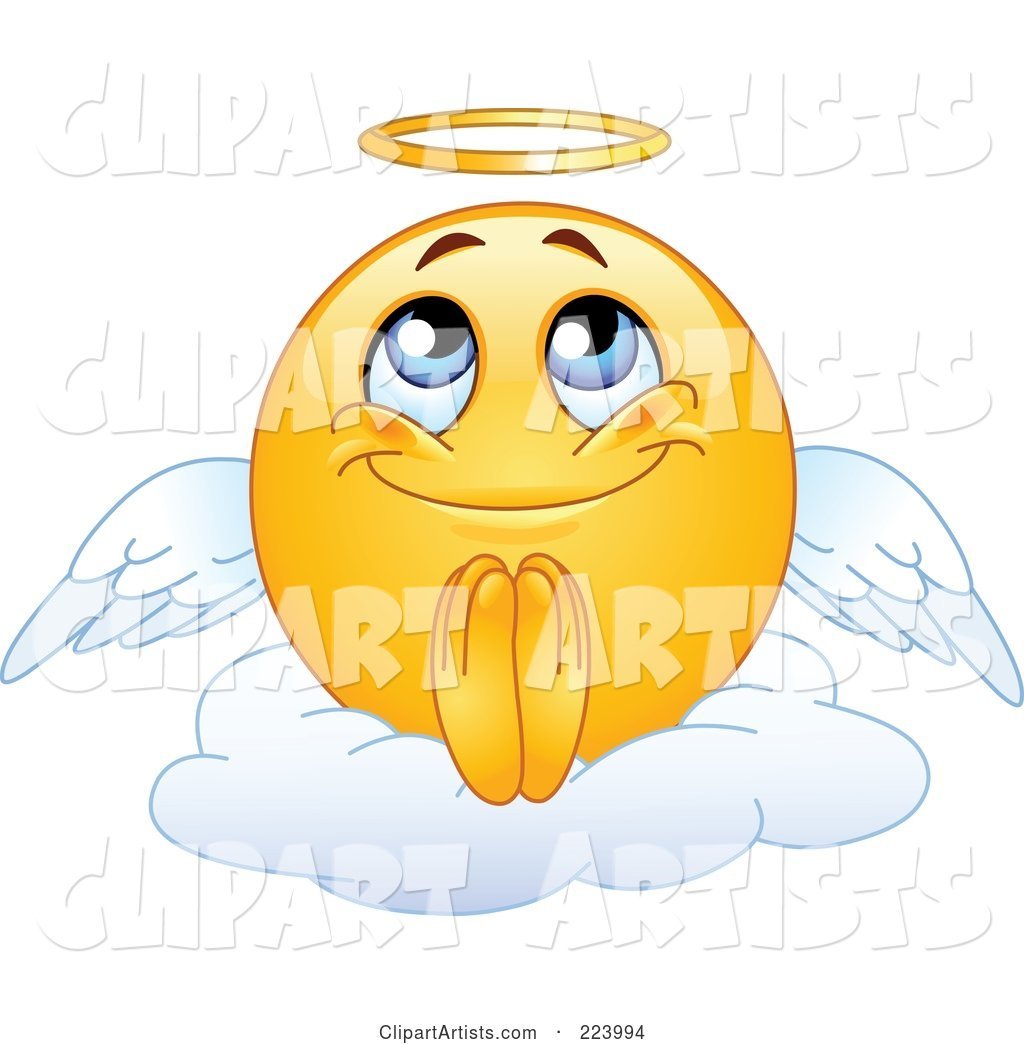 Yellow Emoticon Angel Sitting on a Cloud