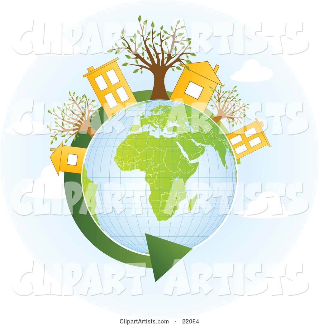 Yellow Homes and Buildings with Trees on Top of a Globe with Green Continents, a Green Renewable Energy Arrow Circling the Planet