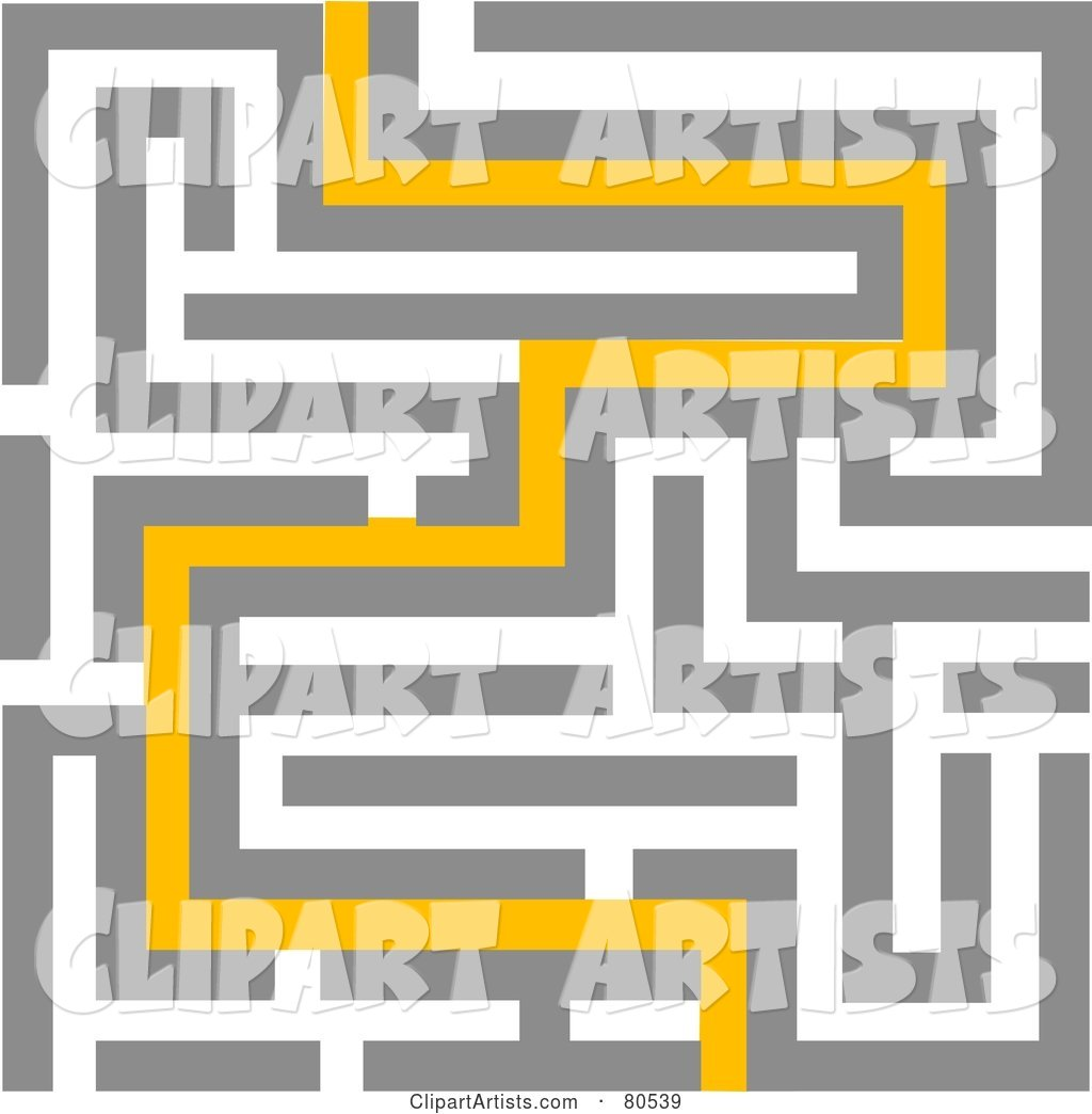 Yellow Path Leading Through a Maze - Version 2