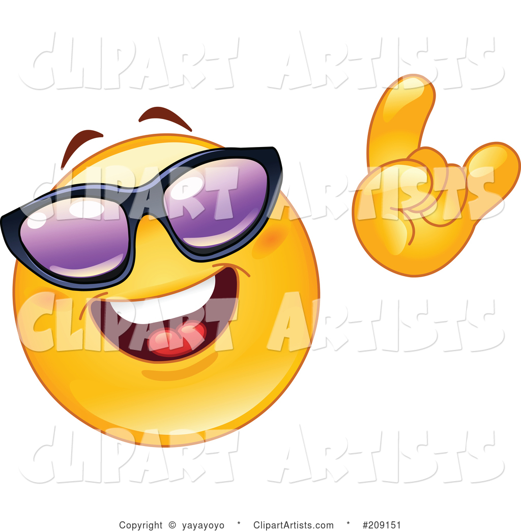 Yellow Smiley Face Wearing Shades and Gesturing the Hang Loos Sign