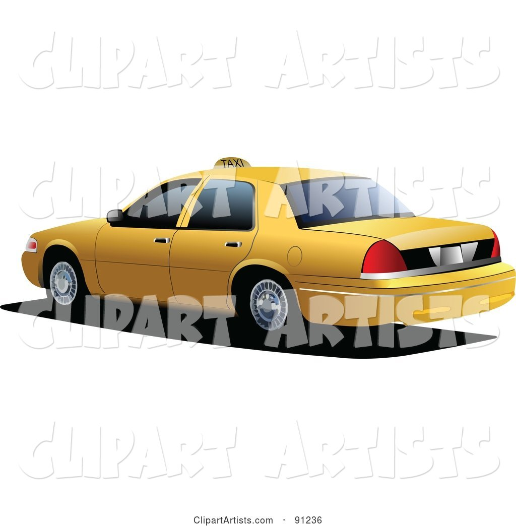 Yellow Taxi Cab Car with Tinted Windows