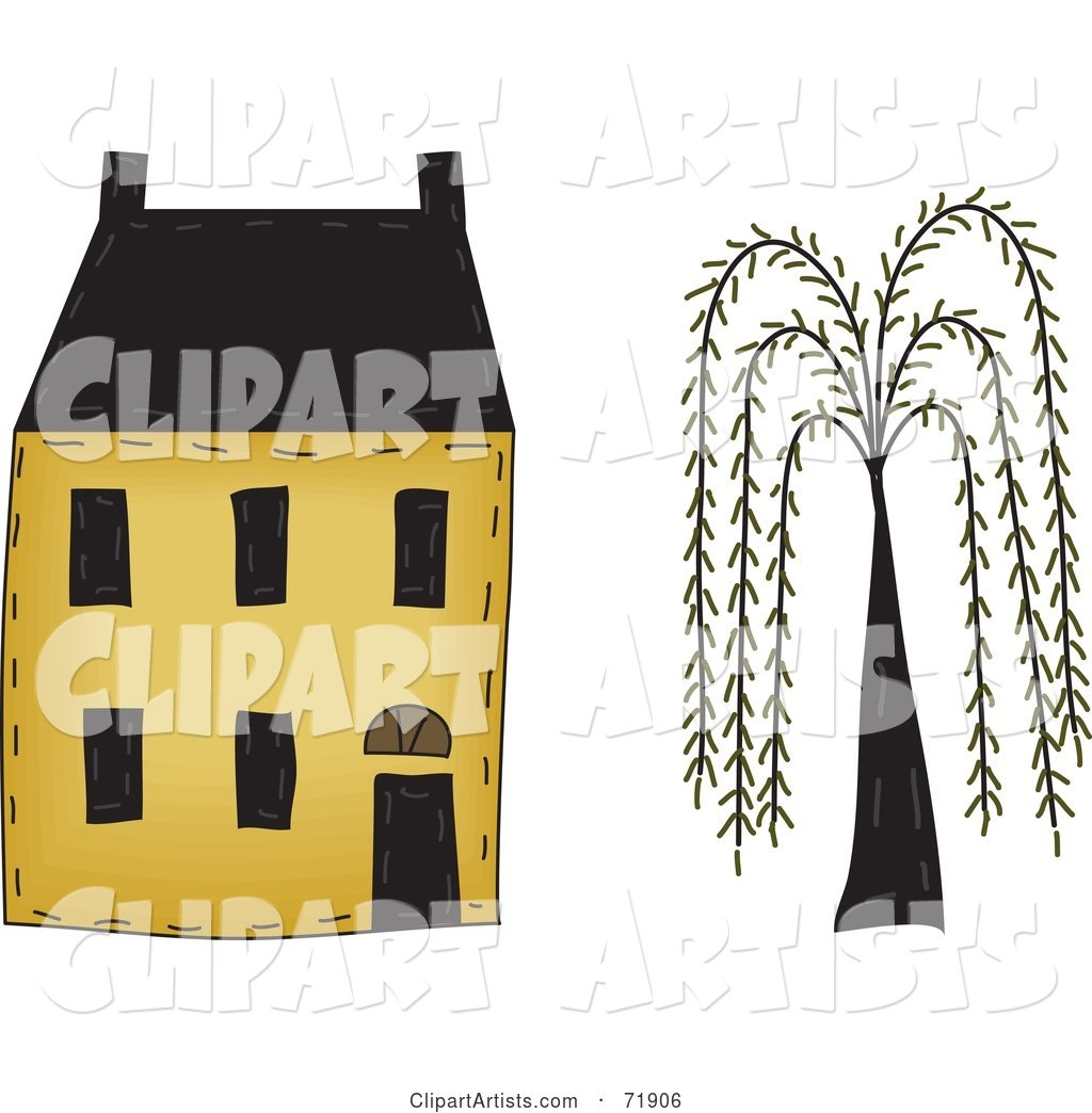 Yellow Two Story House by a Willow Tree