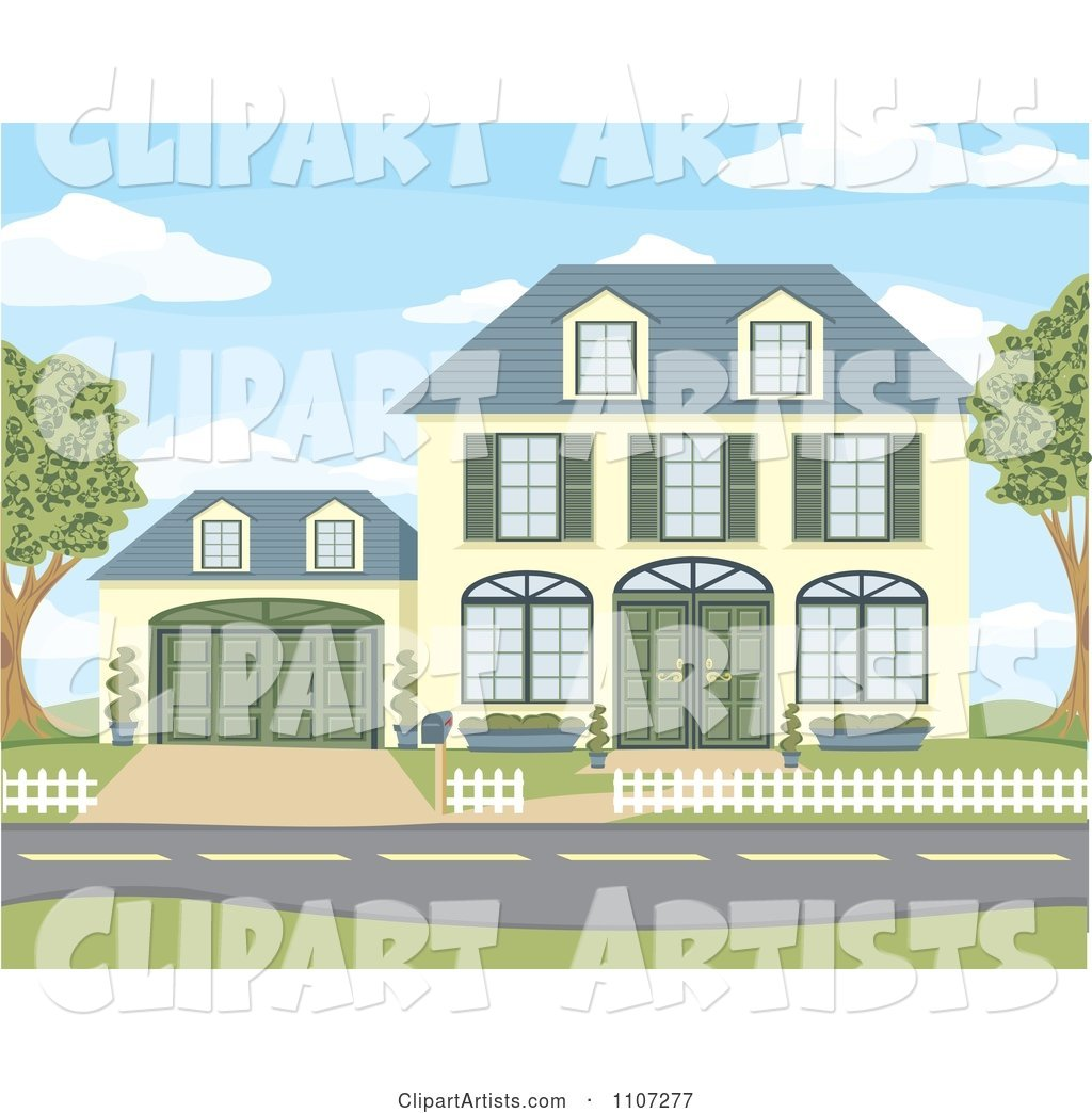 Yellow Two Story House with Green Shutters and Doors and an Attached Garage