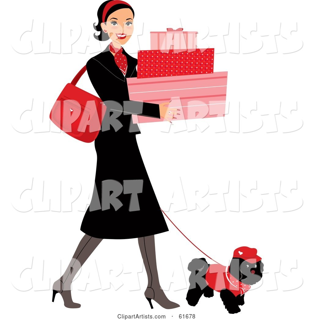 Young Lady Walking Her Dog While Shopping and Carrying Feminine Boxes