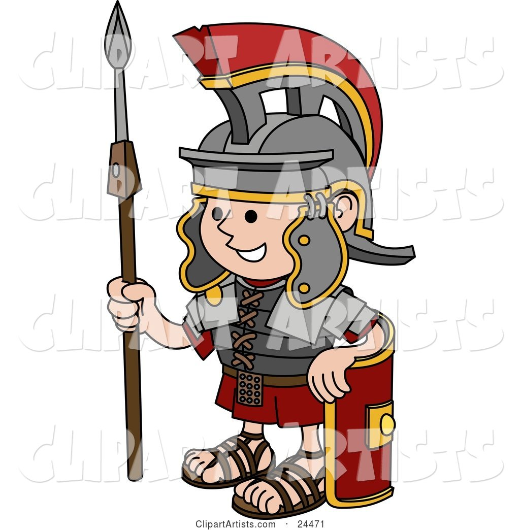Young Roman Soldier Man in a Helmet, Leaning Against His Shield and Holding a Spear