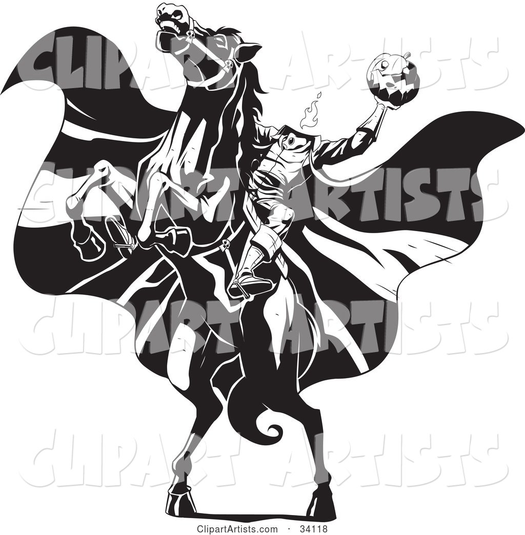 vector 34118 the headless horseman on a rearing horse holding up a jack o lantern as his cape blows in the wind
