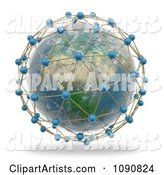 African Globe Surrounded by World Network Connections