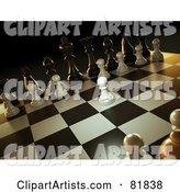 Angled Scene of a Chess Game, a White Pawn Forward