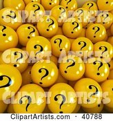 Background of Yellow Question Mark Balls