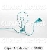 Blue Cable with a Plug, Forming a Light Bulb