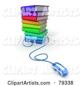 Blue Computer Mouse Connected to a Stack of Colorful Literature Text Books